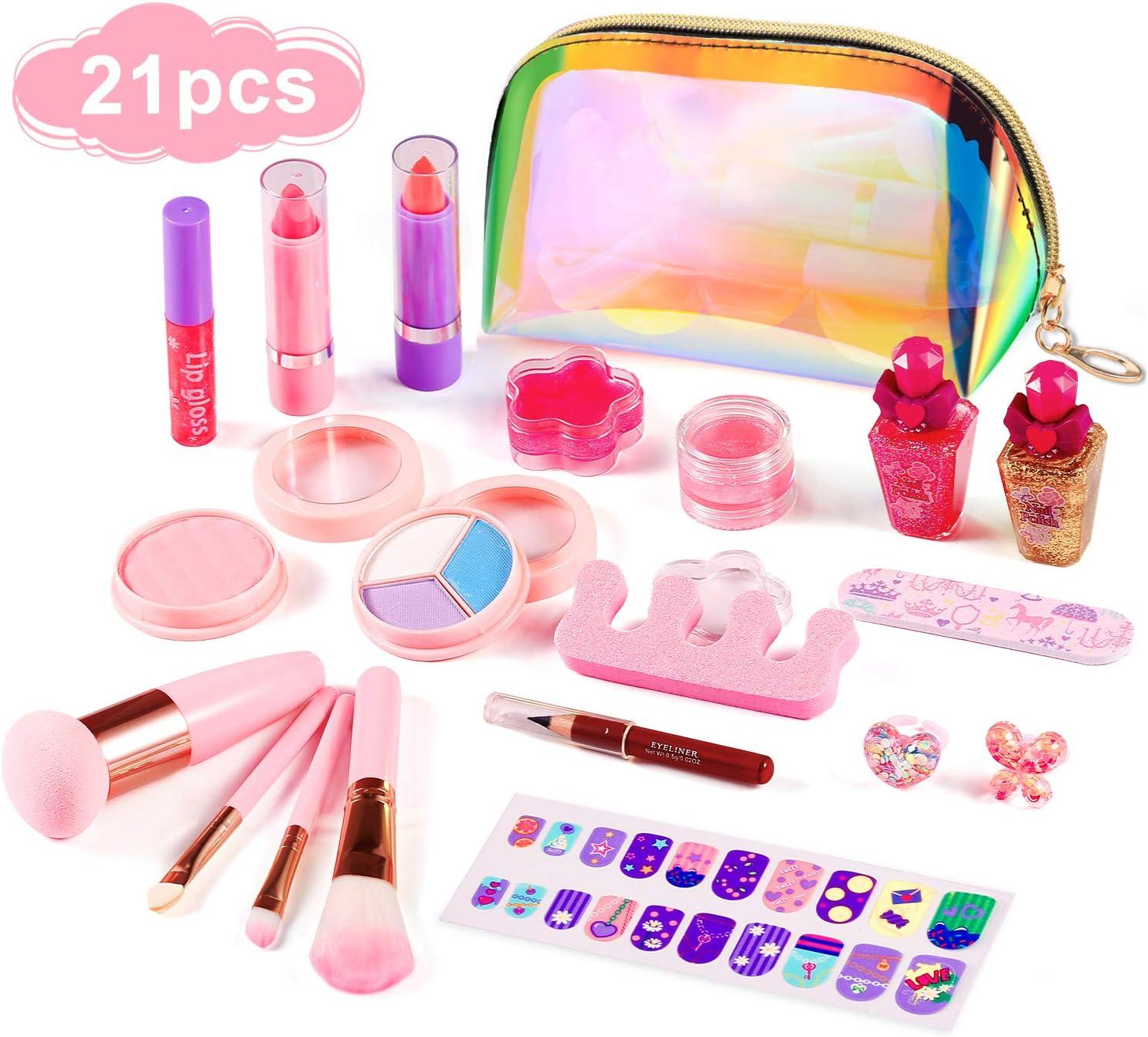 ARANEE 21PCS Juego de Maquillaje para niños para niñas, Kit de Juguete de Maquillaje Lavable con Bolsa de cosméticos con Purpurina