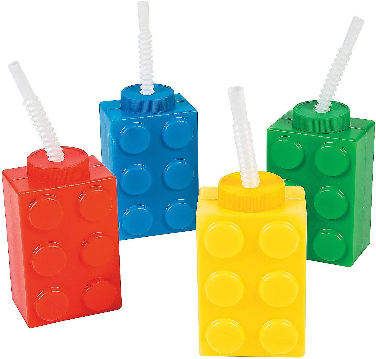 Brick Birthday Party Favors for Kids Supplies Decoration Accessories by 4Es Novelty Pack of 4 Building Blocks Cups /& Lollipop Sucker