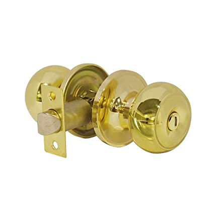 probrico privacy door knobs lock interior bedroom bathroom door handle polished brass round ball keyless lockset - Bathroom Door Knobs