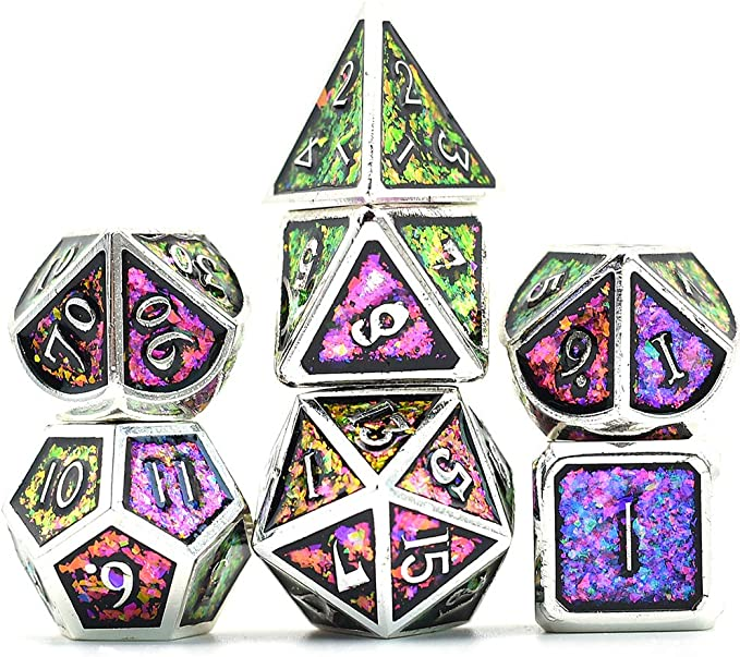 HD orestone minerai Pierre Poly 7 DICE RPG Set Cristal Sombre Violet Gris acier d/&d MDN