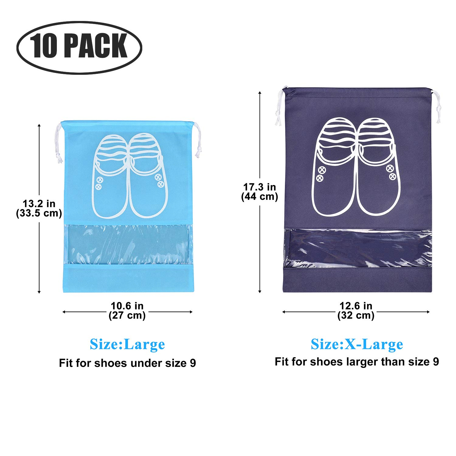10 Pcs Travel Dust-proof Shoe Bags with Drawstring and Transparent Window Shoe Organizer Space Saving Storage Bags(5pcs XL and 5pcs L) by TGbranch (Image #2)