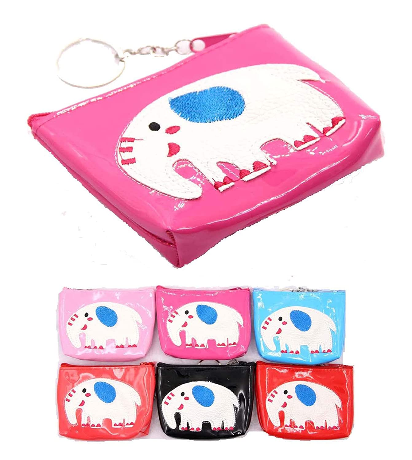 Pack of 12, 6 colors x 2 DK USA 12 pieces Girls Coin Purse ELEPHANT design