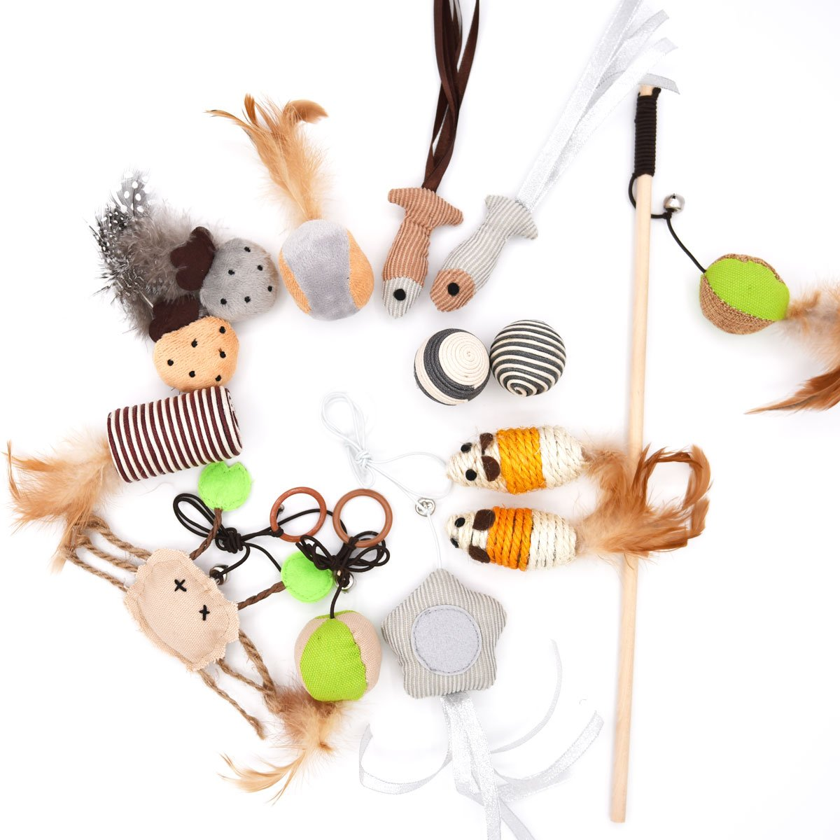 MorePets 14 Premium Natural Interactive Cat Toys Variety Pack Teaser Wand Toy Set Mouse Fish Feather by MorePets (Image #1)