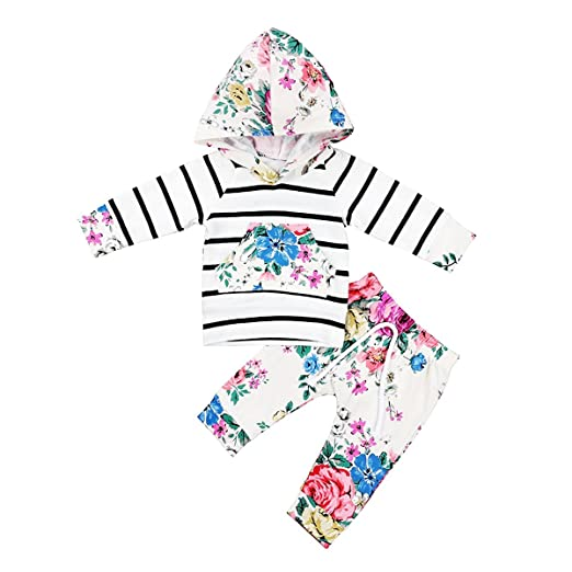 af760968972a Amazon.com  Babibeauty Baby Girl Floral Clothes Long Sleeve Striped ...