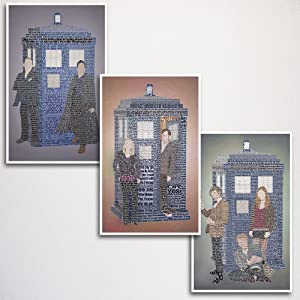 """Doctor Who Word Art Print Three Set 11x17"""" unframed 