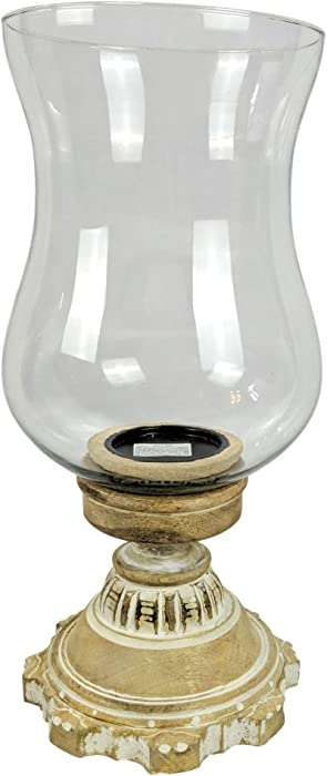 "Hurricane Lantern Candle Holder with Glass Globe and Hand-Carved Wooden Pillar Candle Holder | Perfect for Farmhouse Home Decor Accents Or as Centerpiece (White-Washed, Small - 18.5"" H)"