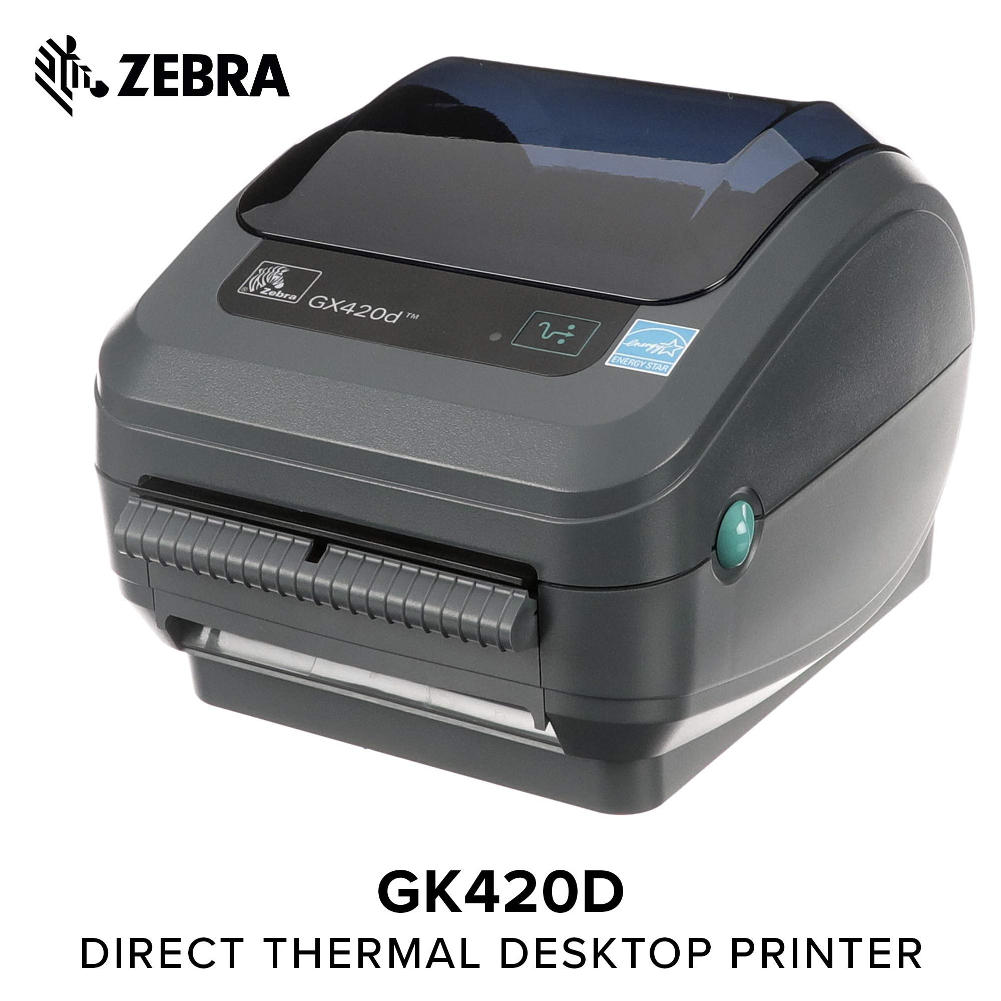 Zebra - GX420d Direct Thermal Desktop Printer for Labels, Receipts, Barcodes, Tags, and Wrist Bands - Print Width of 4 in - USB, Serial, and Ethernet Port Connectivity (Includes Peeler) (Renewed) by ZEBRA