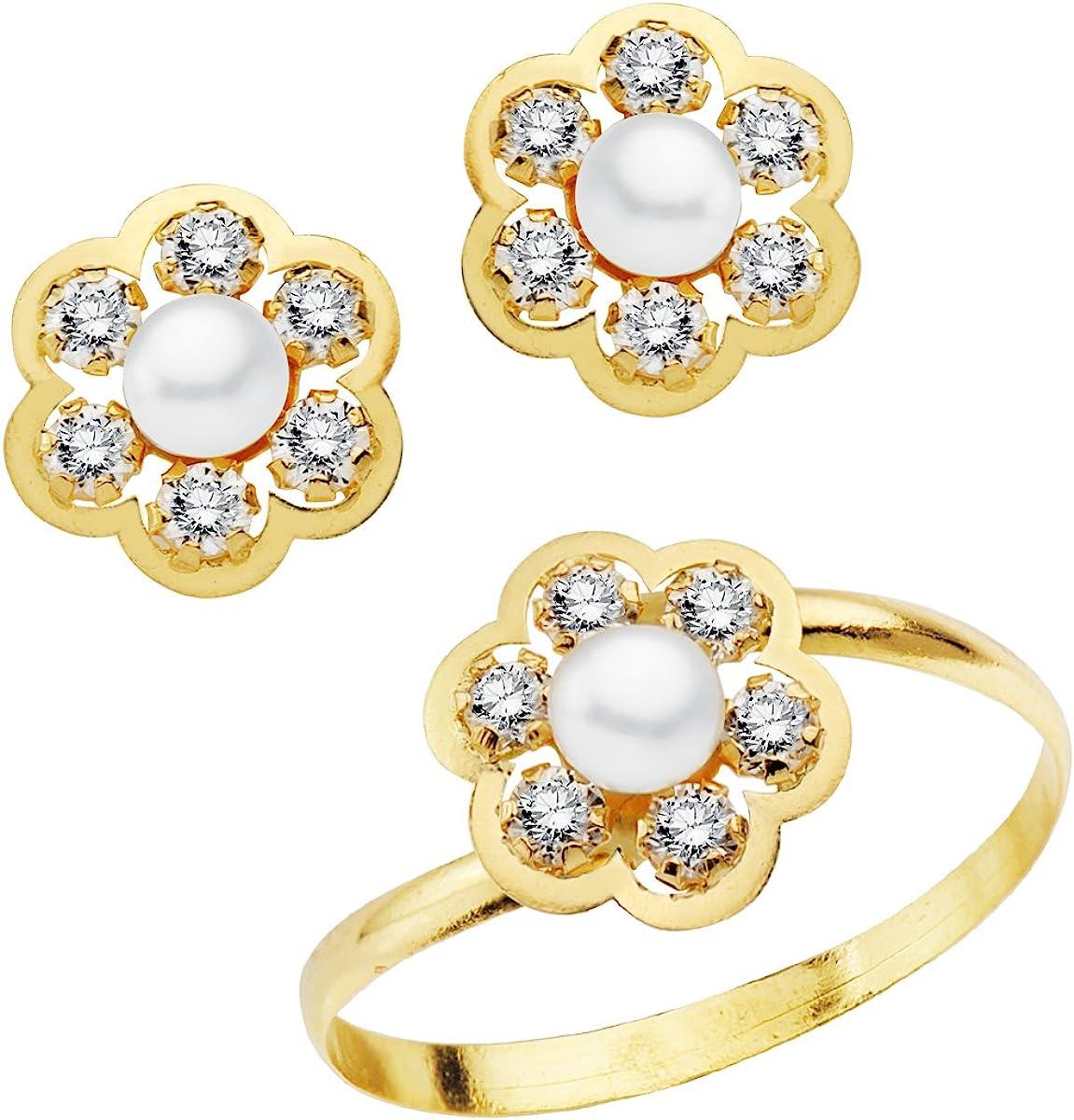 Iyé Biyé Jewels Conjunto niña Mujer Oro Amarillo 18 ktes 1ª Comunión Anillo y Pendientes Flor con Perlas y circonitas