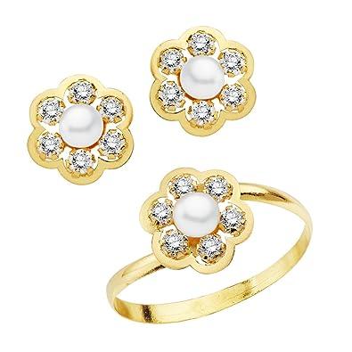 e4b33e929b4a Iyé Biyé Jewels Conjunto niña mujer oro amarillo 18 ktes 1ª Comunión anillo  y pendientes flor con perlas y circonitas  Amazon.es  Joyería