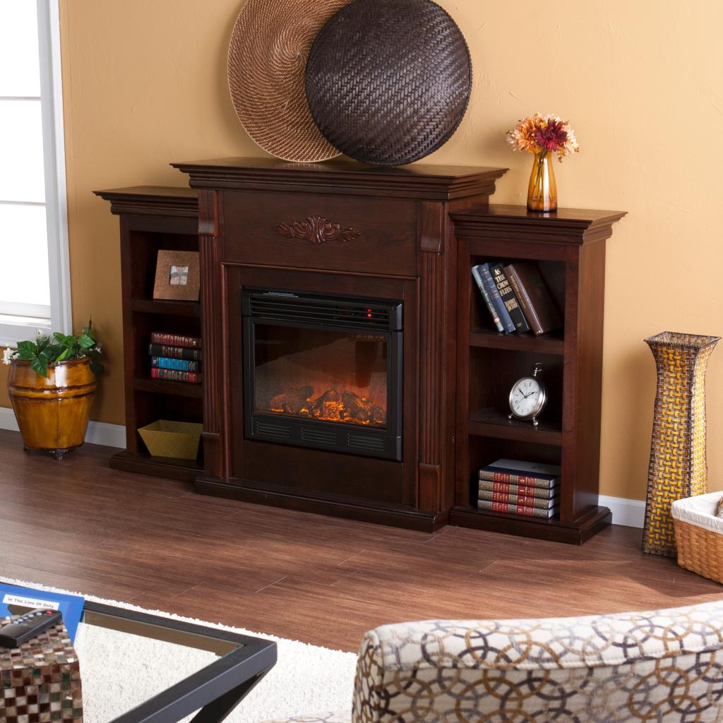 southern enterprises tennyson electric fireplace with bookcase classic espresso. Black Bedroom Furniture Sets. Home Design Ideas