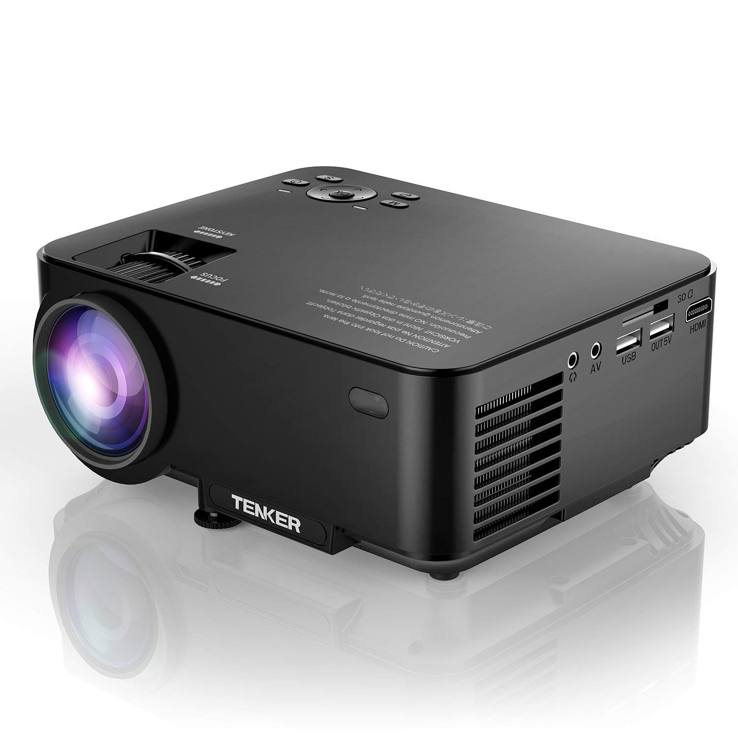 Projector, TENKER Upgrade +30% Lumens Mini Projector Home Theater 4.0'' LCD Movie Projector with 176'' Display Support 1080P HDMI USB SD Card AV VGA for TV Laptop Game Smartphone Includes HDMI Cable