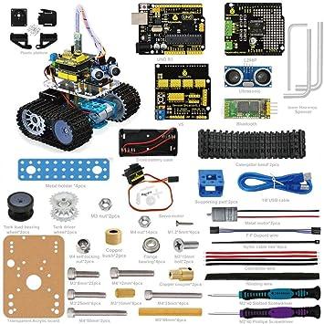 Keyestudio - Coche inteligente Bluetooth ultrasónico con mando a distancia, tanque para montar. Pasa ...