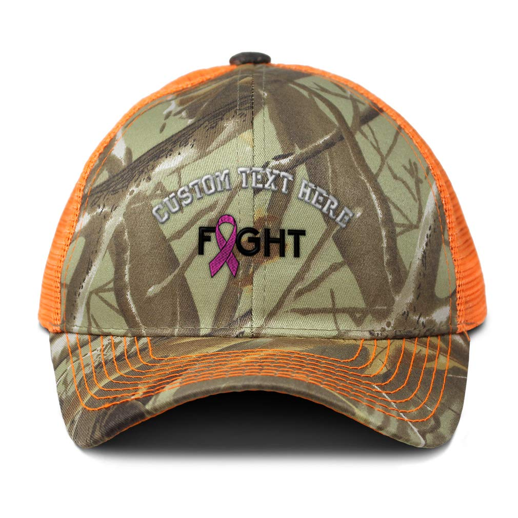 Custom Camo Mesh Trucker Hat Cancer Pink Ribbon FightEmbroidery Cotton One Size