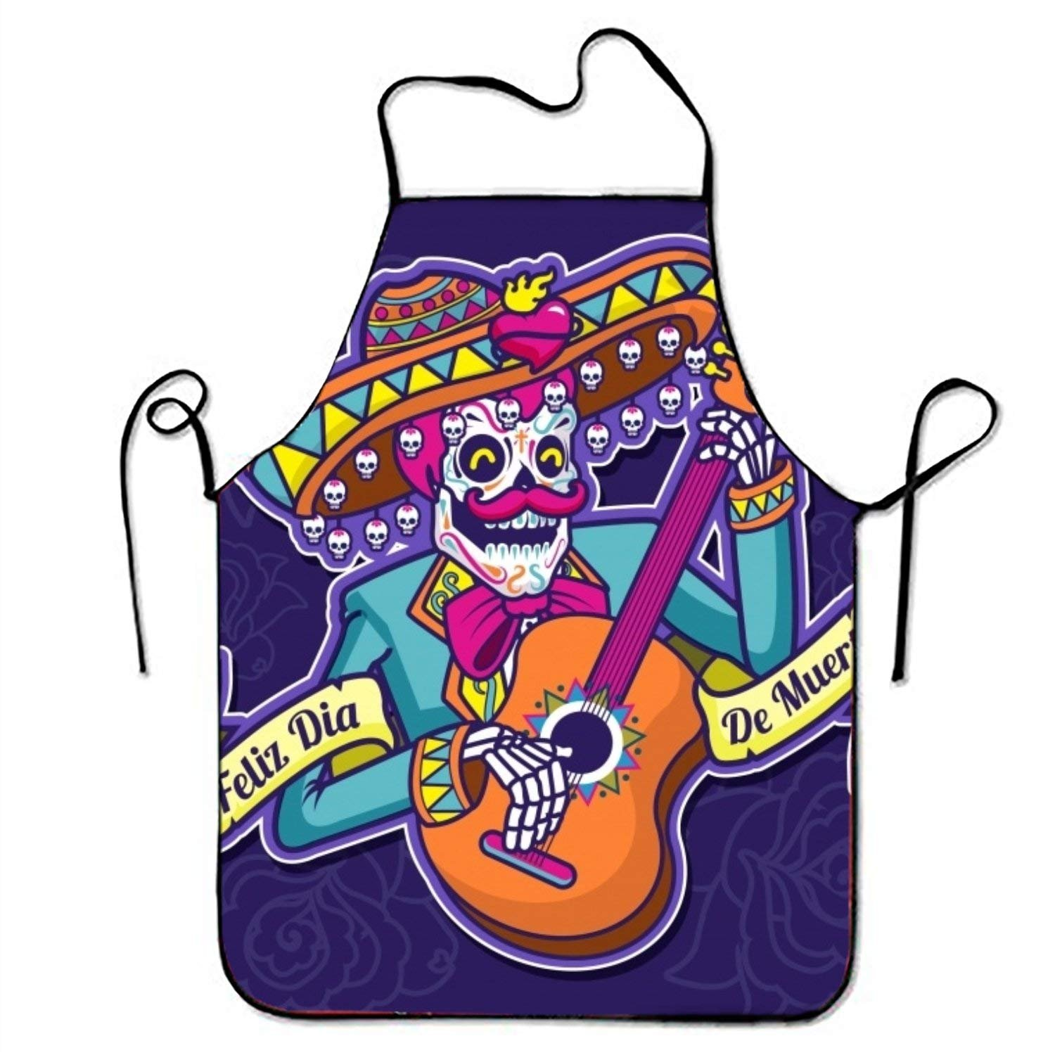 Happy Day of Death背景with Illustration of Mexican Skullキッチン料理エプロンレストランホームのキッチンエプロンBib for Cooking   B07FTHPNSY