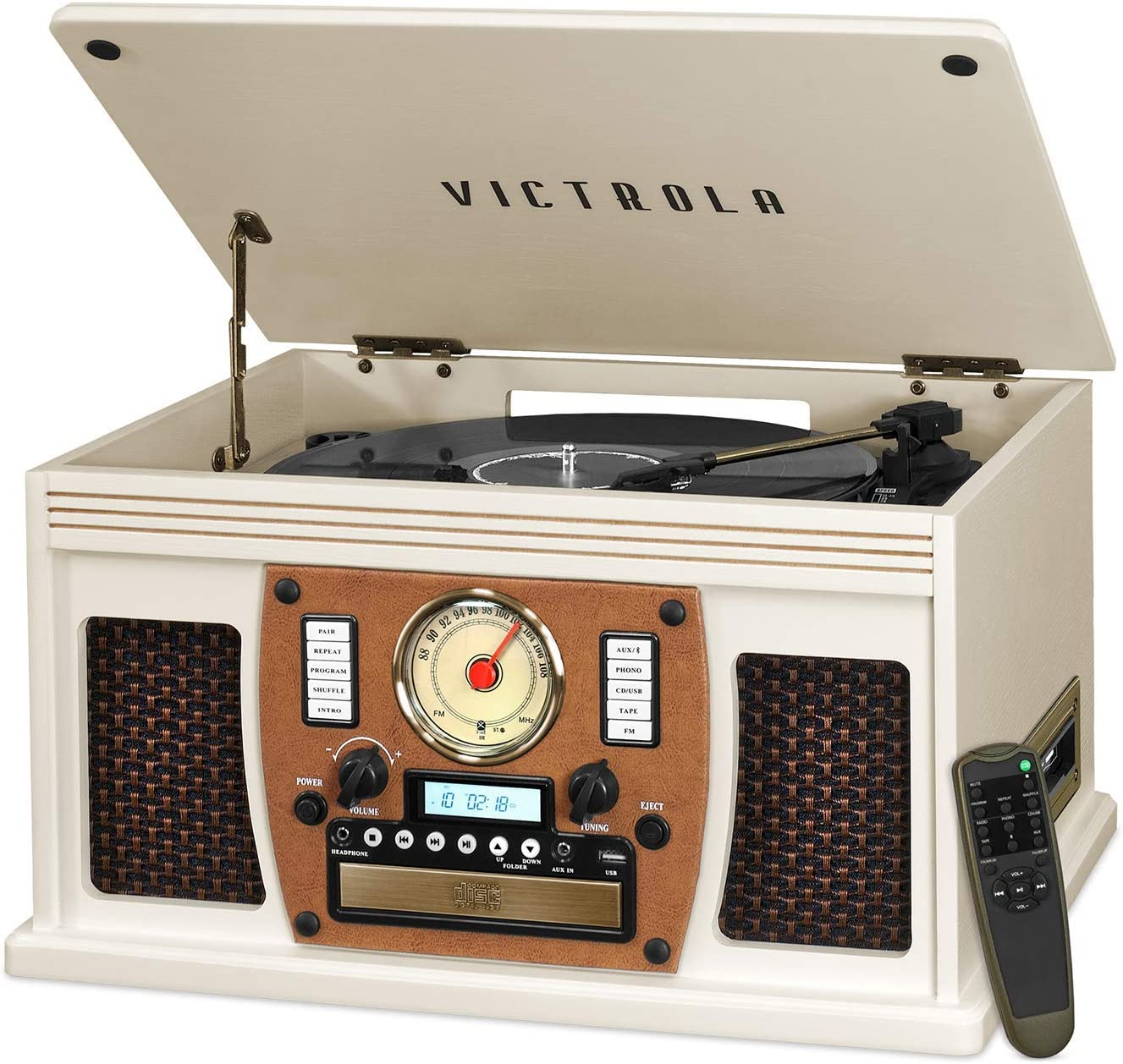 Victrola 8-in-1 Bluetooth Record Player & Multimedia Center, Built-in Stereo Speakers - Turntable, Wireless Music Streaming | White
