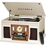 Victrola Navigator 8-in-1 Bluetooth Record Player & Multimedia Center with Built-in Stereo Speakers - 3-Speed Turntable, Vinyl to MP3 Recording | Wireless Music Streaming | White