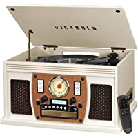 Victrola Navigator 8-in-1 Bluetooth Record Player & Multimedia Center with Built-in Stereo Speakers - 3-Speed Turntable…