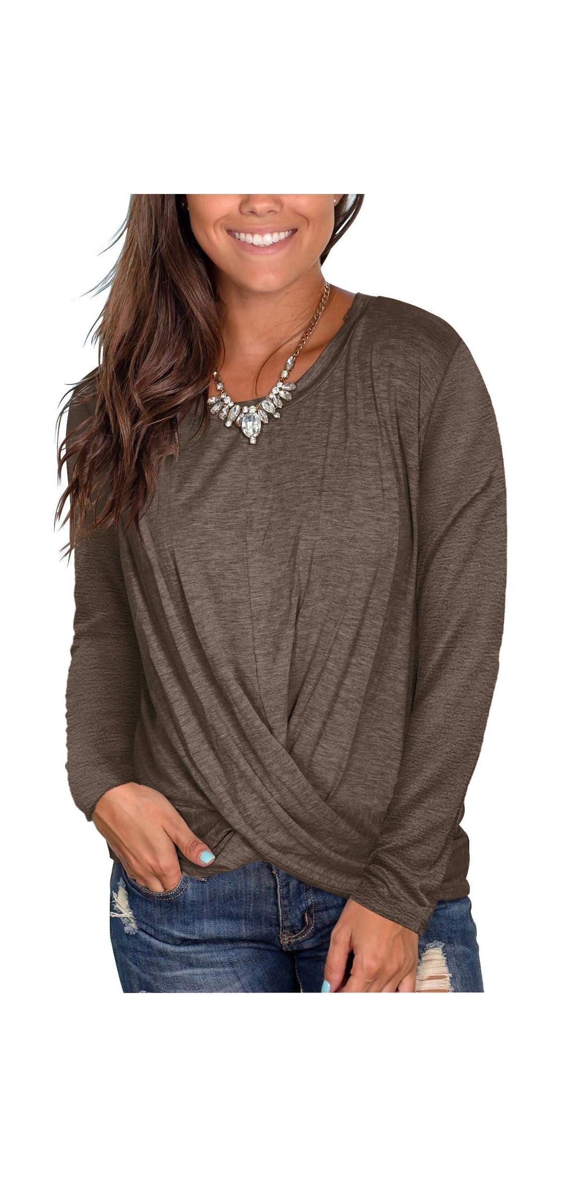 Women's Short Sleeve Round Neck T Shirt Front Twist
