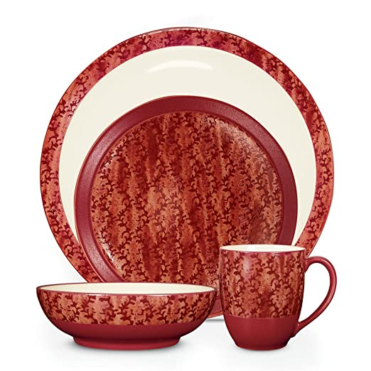 Christmas Tablescape Decor - Elements coral pattern 4-piece stoneware place setting by Noritake