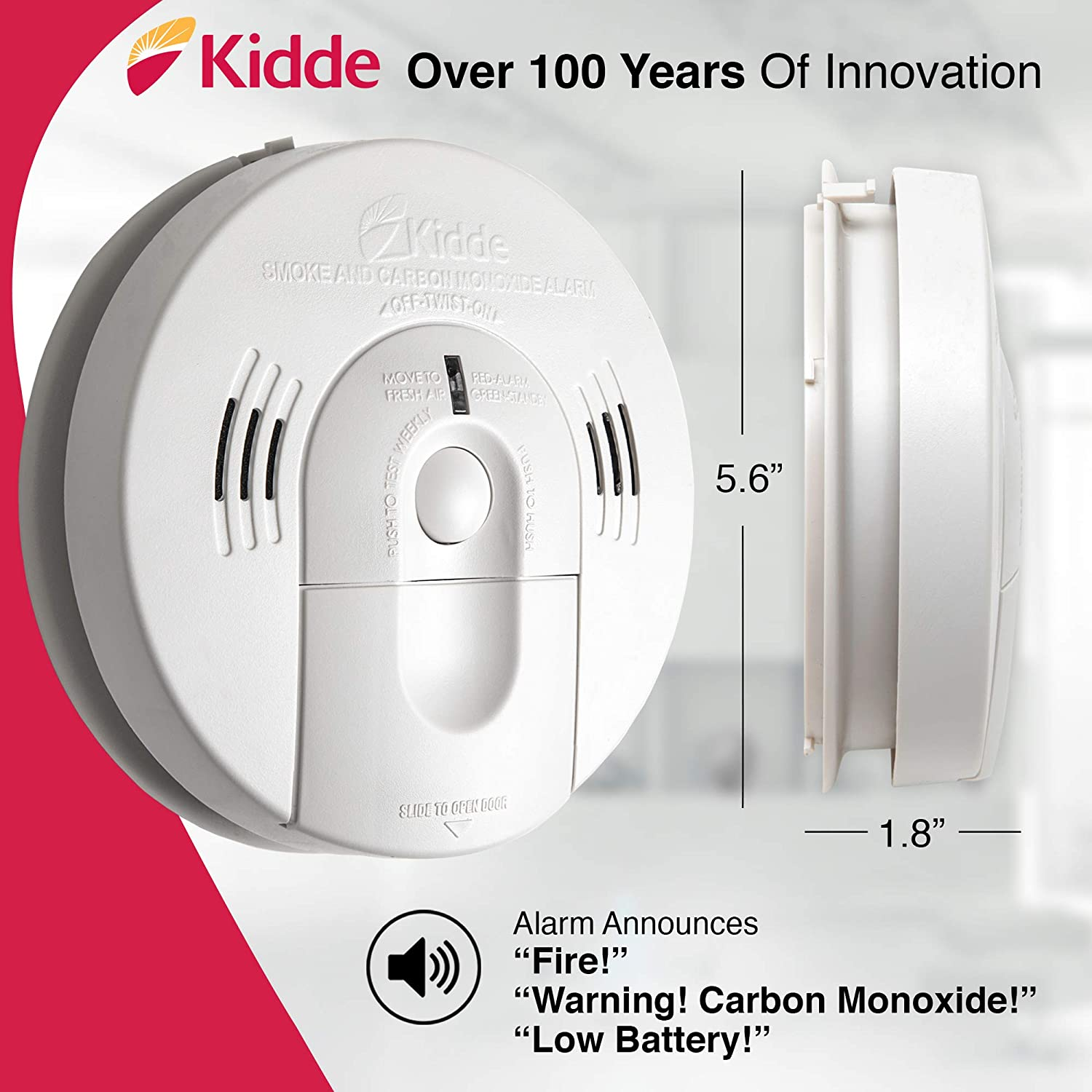 Kidde 21026043 Battery-Operated(Not Hardwired) Combination Smoke/Carbon Monoxide Alarm with Voice Warning KN-COSM-BA - -