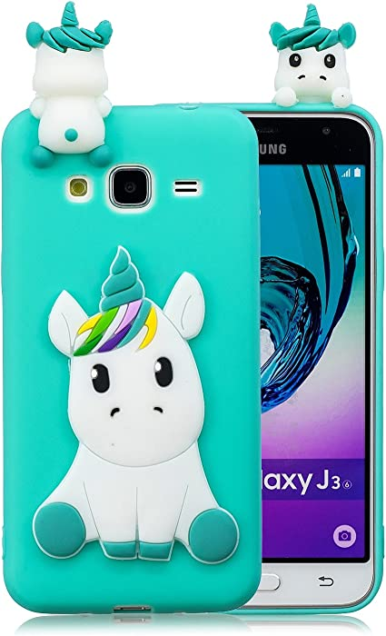 HopMore Compatible pour Coque Samsung Galaxy J3 2016 Silicone Souple 3D Design Motif Licorne Panda Drôle Mignonne Etui Samsung J3 2016 Étui Antichoc ...
