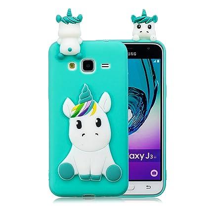 Galaxy J3 2016 Case, Galaxy Amp Prime Case, DAMONDY 3D Cute Unicorn Cartoon Soft Gel Silicone Design Rubber Skin Thin Protective Cover Phone Case for ...