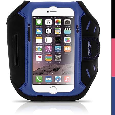 igadgitz Blau Wasserabweisend Leichtes Neopren Sports Jogging Armband Laufen Fitness Oberarmtasche für Apple iPhone 6 & 6S 4.