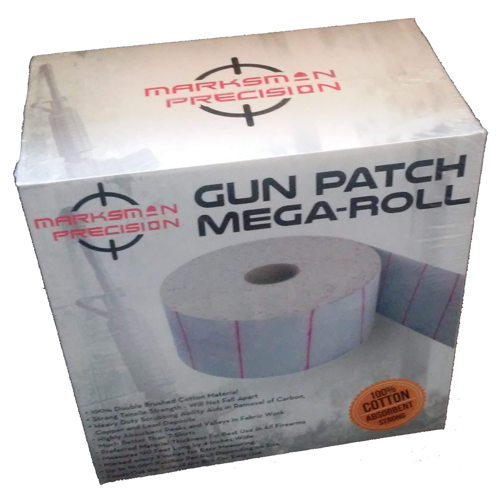 Marksman Precision GUN PATCH MEGA-ROLL | Strong 100% Double Brushed Cotton Cloth |10,000 Absorbent Patches | Cut To Size & Clean - Rifle Handgun Shotgun Black Powder Pistol Revolver | Shooting Hunting by Marksman Precision
