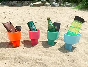 Home Queen Beach Cup Holder with Pocket, Multifunctional Sand Cup Holder for Beverage Phone Sunglass Key, Beach Accessory Drink Sand Coaster, Set of 4 (Teal, Orange, Blue and Pink)