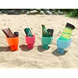 Home Queen Beach Cup Holder with Pocket, Multifunctional Sand Cup Holder for Beverage Phone Sunglass Key, Beach Accessory Dri