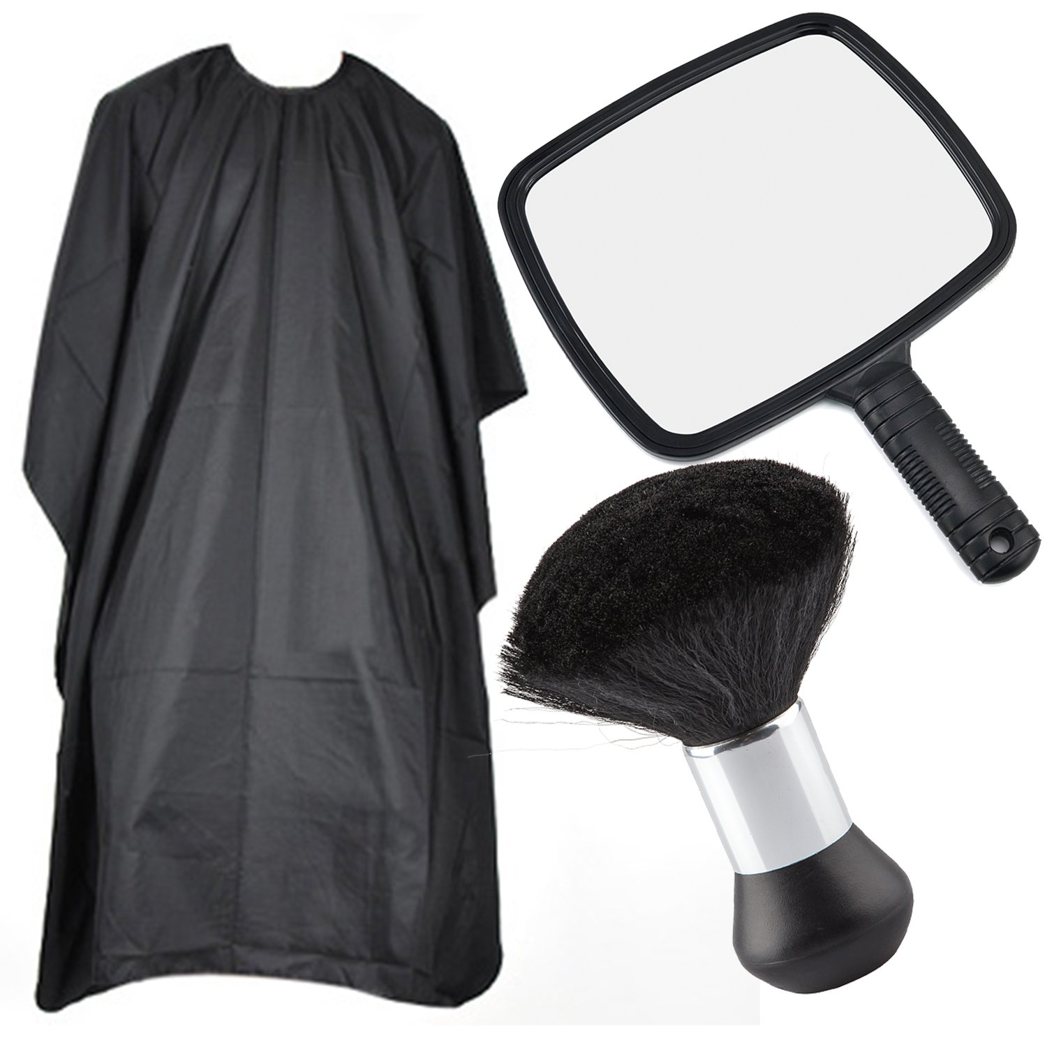 Hairdressers Pack Includes Mirror, Hairdressing Gown Cape and Neck Brush Barbers Kit 3 Piece Hair Cutting Set - By Trixes