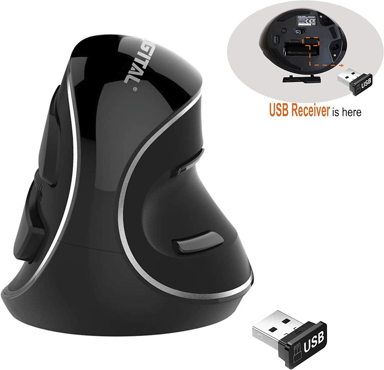J-Tech Digital Wireless Ergonomic Vertical USB Mouse with Adjustable Sensitivity (600/1000/1600 DPI), Scroll Endurance, Removable Palm Rest & Thumb Buttons [V628P]