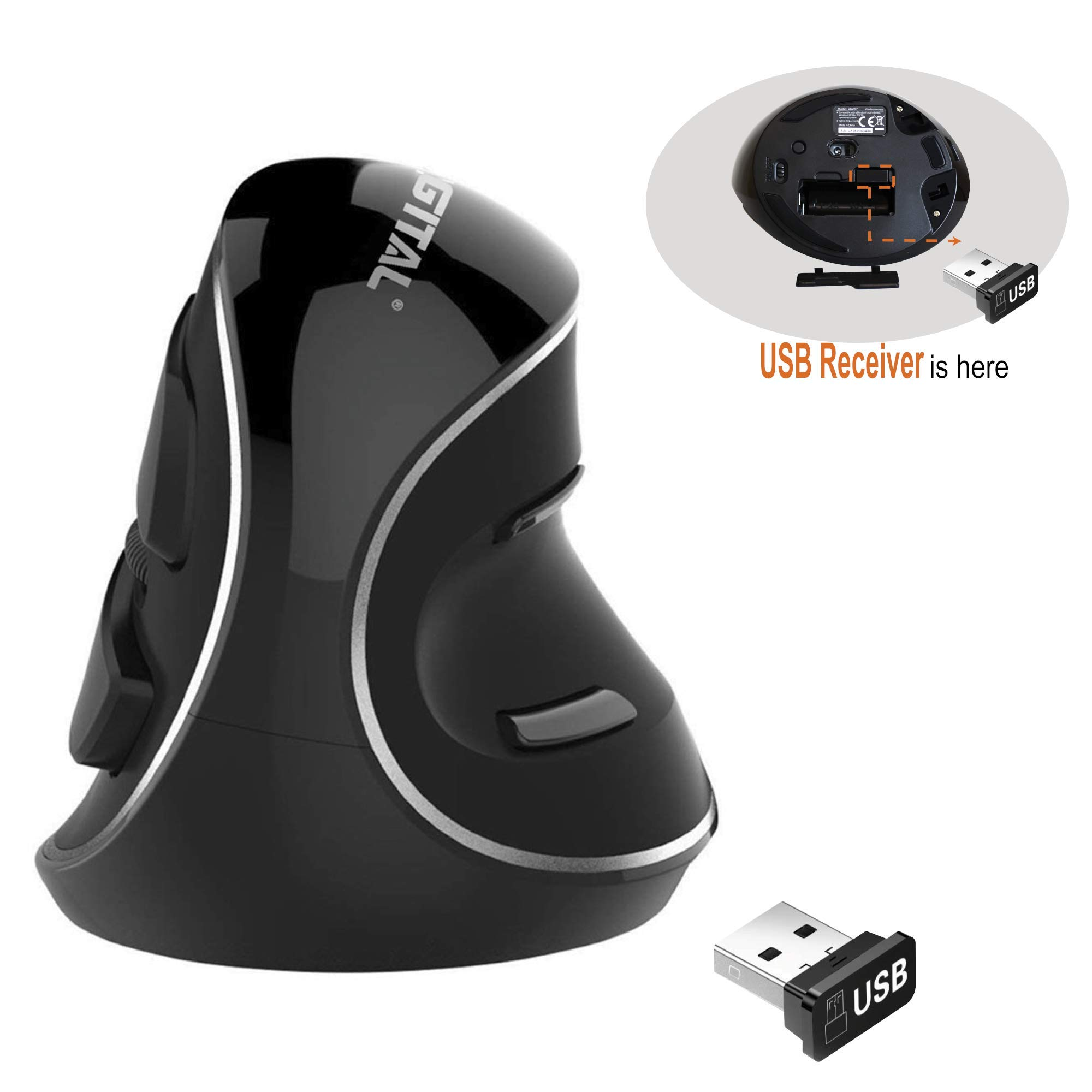 J-Tech Digital Wireless Ergonomic Vertical USB Mouse with Adjustable Sensitivity (600/1000/1600 DPI), Scroll Endurance, Removable Palm Rest & Thumb Buttons [V628P] by J-Tech Digital