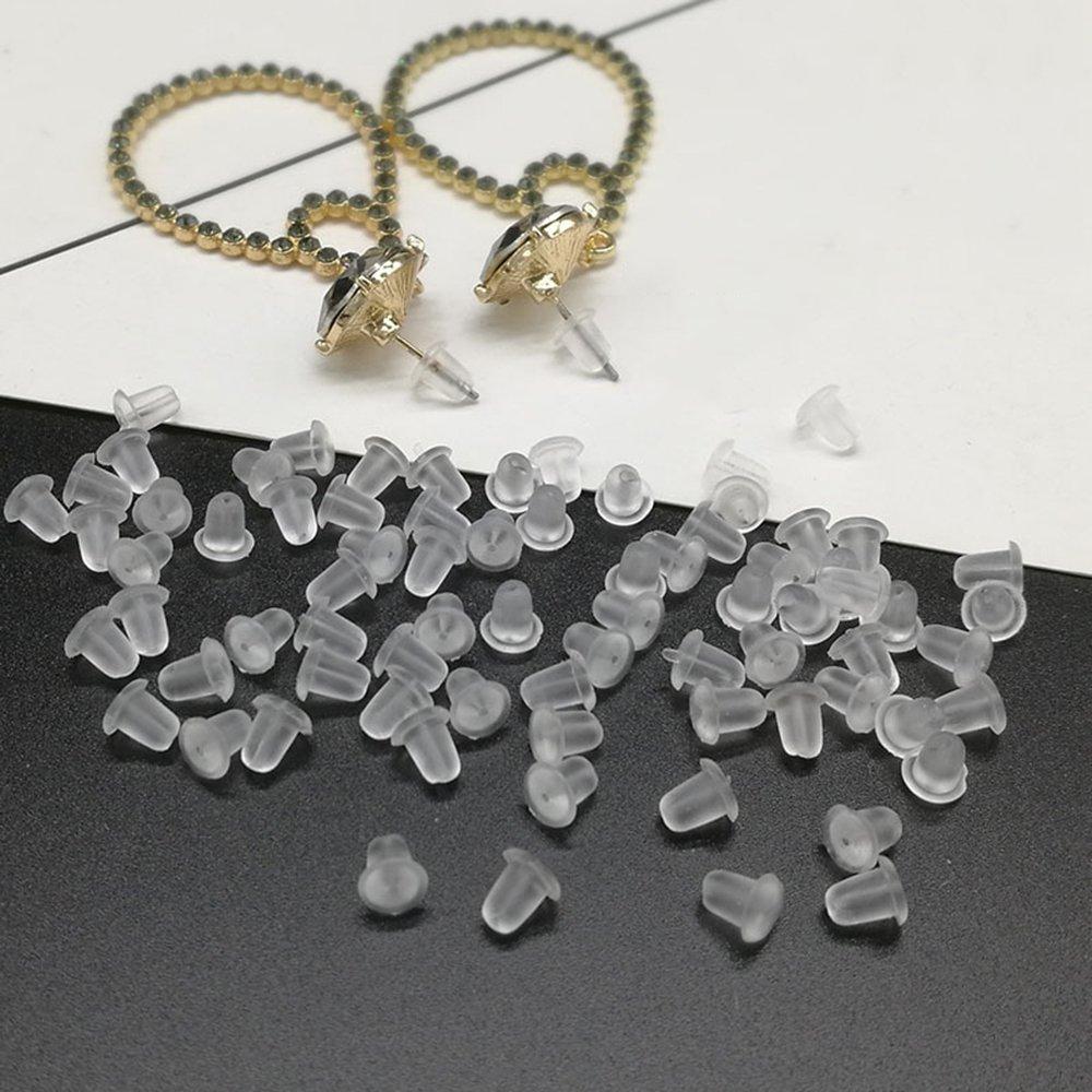 200pcs/lot réutilisable Anti-off en silicone souple Transparent Bouchons d'oreille durable Bijoux Accessoires edhua