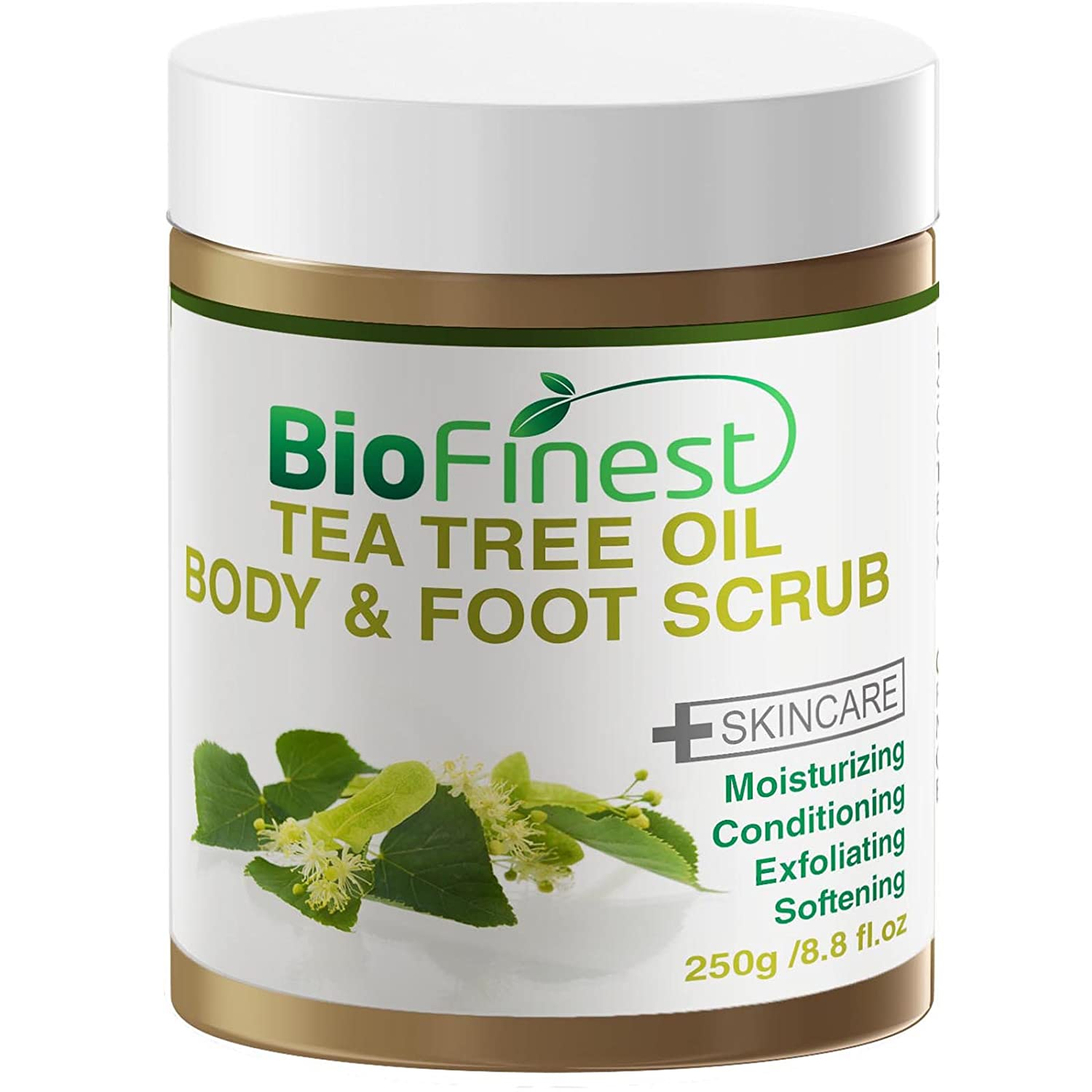 Biofinest Tea Tree Oil Body & Foot Scrub: with Dead Sea Salt, Jojoba Oil, Essential Oils - Best for Athlete Foot/Fungus/ Acne/Warts (250g)