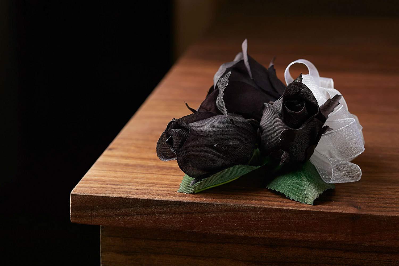 Fake Flower Black Rose Wrist Wrist Corsage Wedding TheBridesBouquet.com Prom Corsage Wristlet