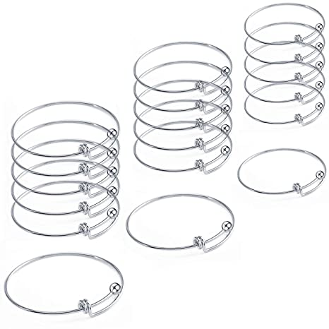 amazon com: 18 pcs stainless steel expandable wire blank bangle bracelet  for womens diy jewelry making: arts, crafts & sewing