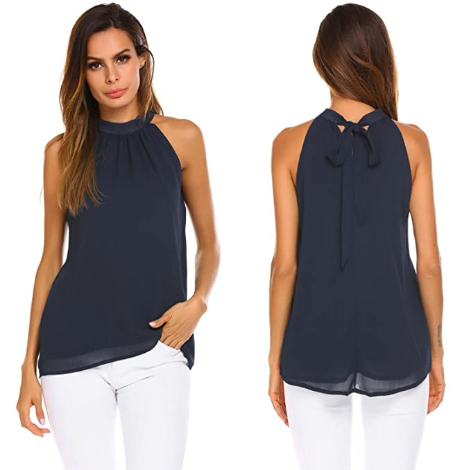 Modfine Camisa De Gasa Mujer Camiseta Sin Manga Blusa Color Sólido Blusa Suelta T-Shirt