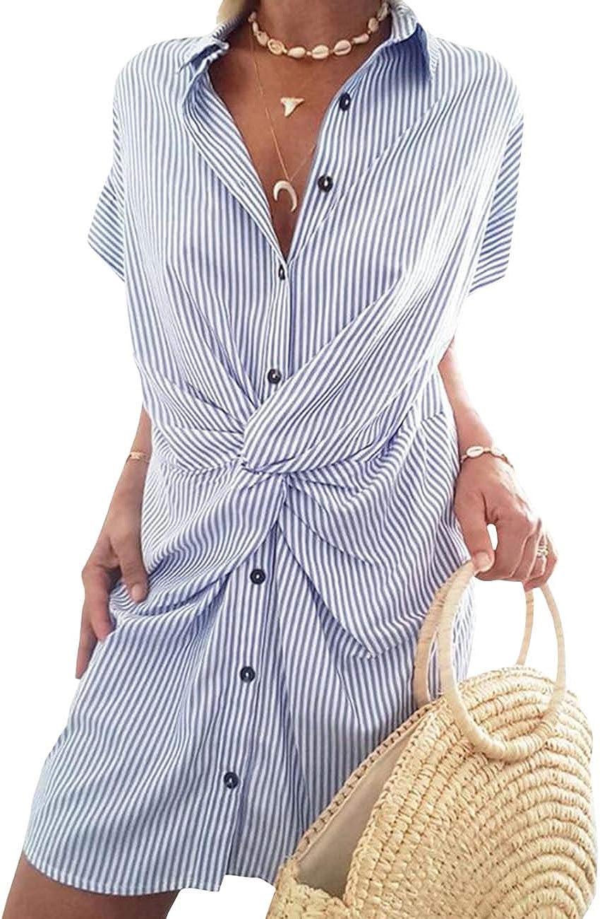 xxxiticat Women's Knot Front Blouse Dress Short Sleeve Button Up ...