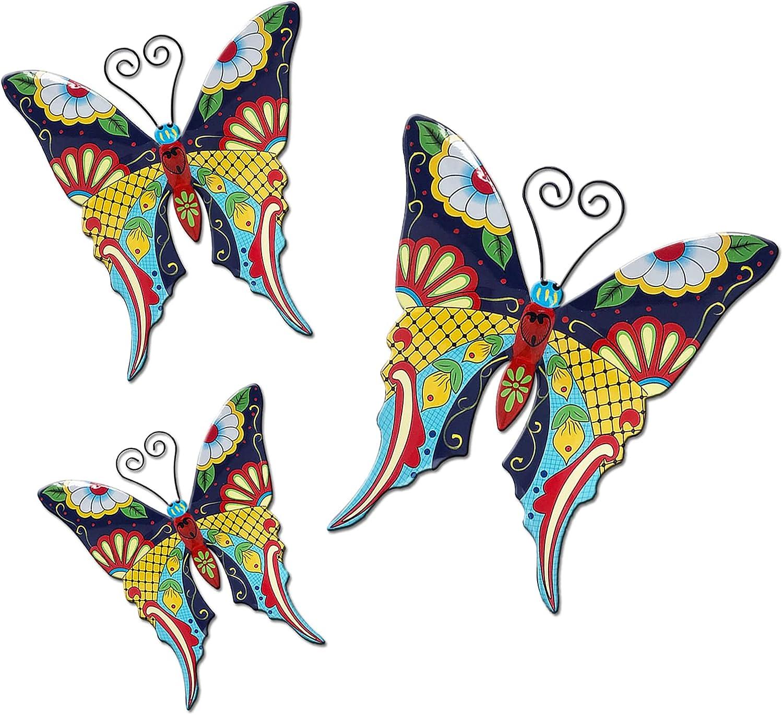 BAYN Metal Butterfly Wall Art Decor, Set of 3 Butterflies Ornaments Handmade Gifts Outdoor, Garden, Patio, Yard, Farmhouse Art Decor, Metal Wall Decoration Sculpture Hanging Indoor, Home, Bedroom, Living Room, Office