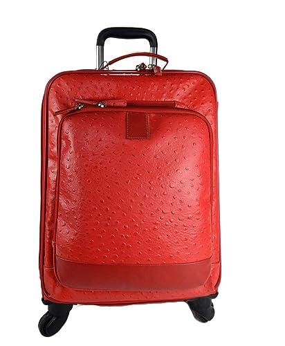 Maleta de avion in piel rojo trolley rígida maleta de cuero bolso de cuero de viaje