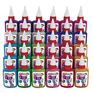 Colorations Non-Toxic Glitter Glue Goo, Classroom Pack of 30 Bottles, 1.69 oz. ea, 10 Colors, Arts & Crafts, Kids, Slime, Easy Squeeze Bottles, School, Party Favors, Give Always, Slime