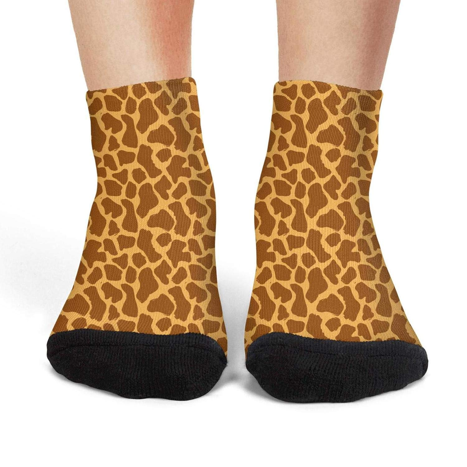 Mens low cut athletic Ankle sock Animal giraffe skin hand draw Breathable Short Sock