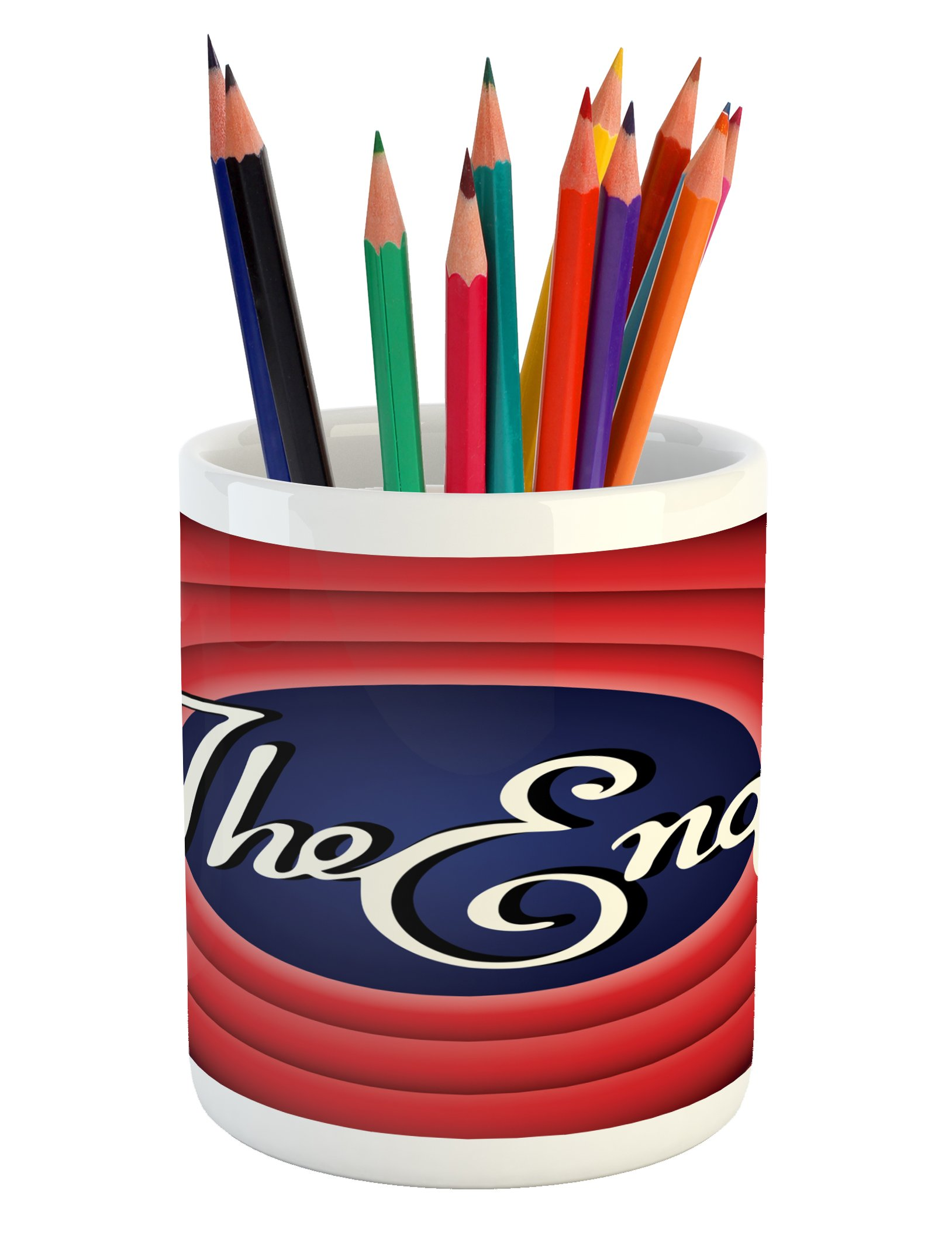 Lunarable 1950s Pencil Pen Holder, Movie Ending Screen Academy Dated Broadcast Entertainment Show Oscar Cinema, Printed Ceramic Pencil Pen Holder for Desk Office Accessory, Coral Royal Blue