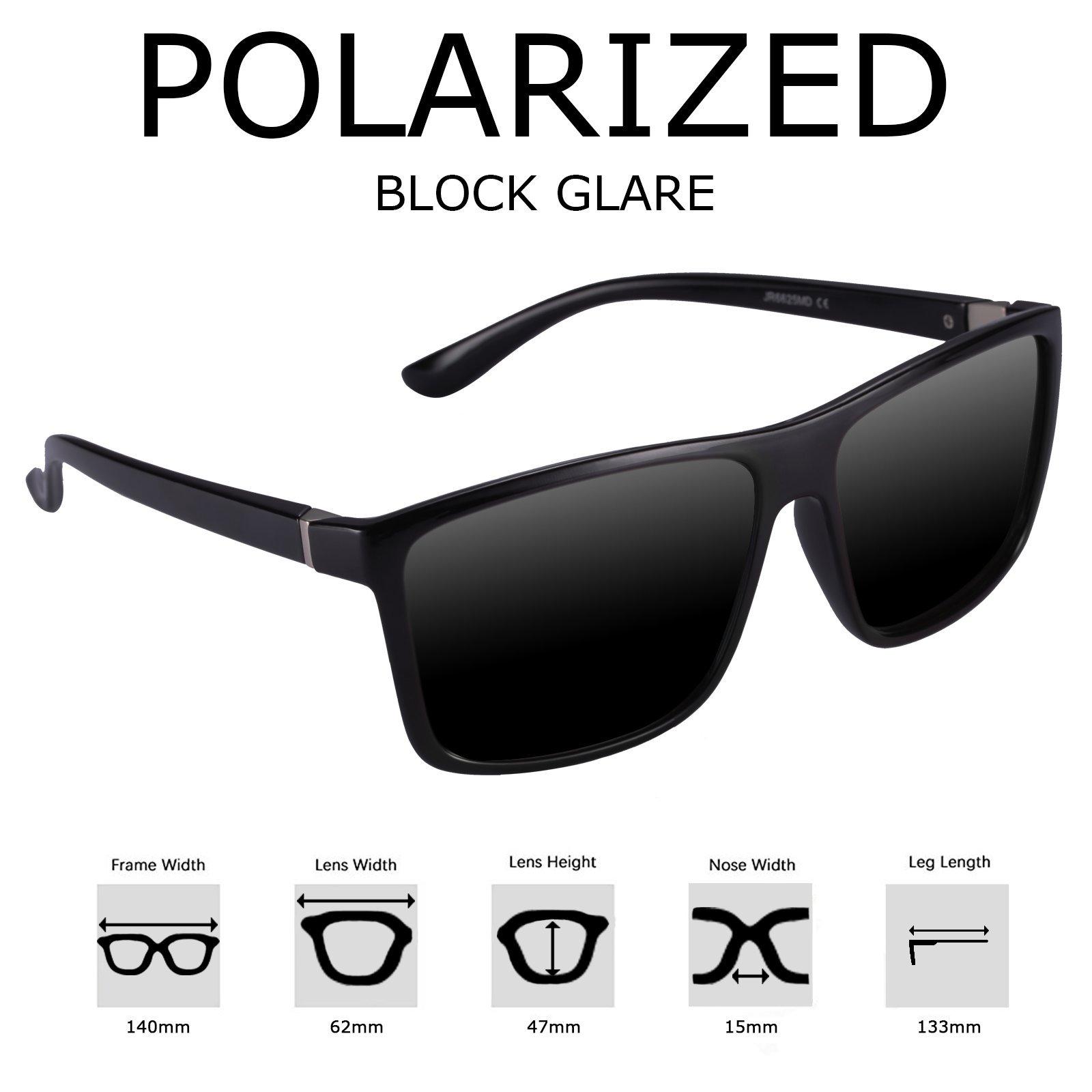 Polarized Sunglasses for Men Driving, Unisex Sun Glasses Square Vintage 100% UV Protection Glasses for Men/Women (Gray)