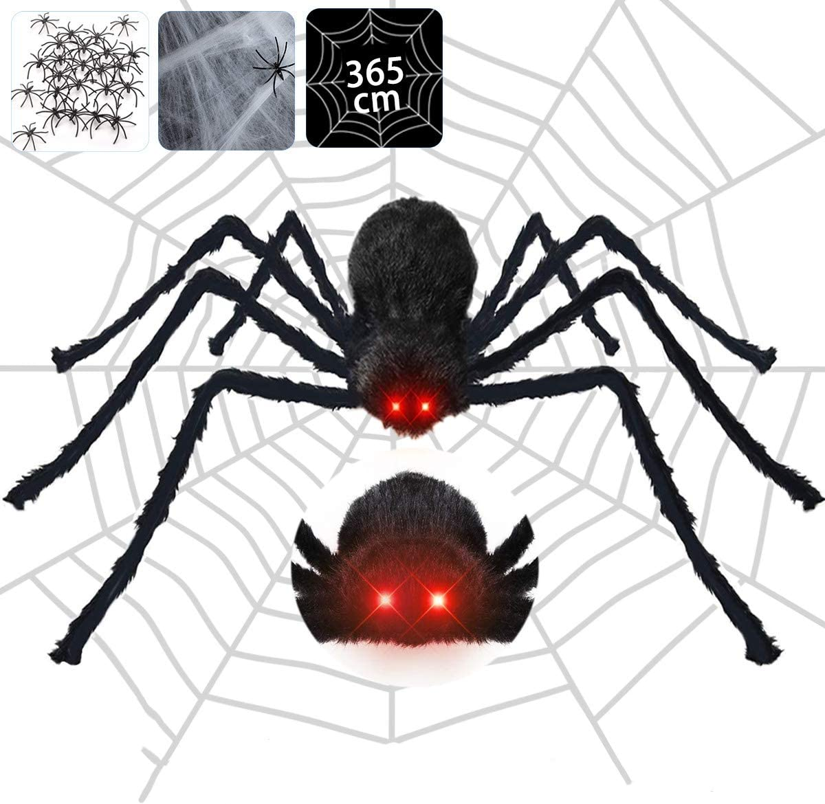 Halloween Spider Decorations, 4.1ft Scary Giant Spider with Red LED Eyes and Spooky Sound, 20pcs Small Plastic Spiders + 12ft Spider Web + 200sqft Cobwebs for Halloween Decor Outdoor, Indoor, Yard