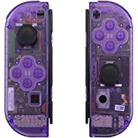 eXtremeRate Transparent Clear Purple Joycon Handheld Controller Housing with Full Set Buttons, DIY Replacement Shell Case for Nintendo Switch Joy-Con – Console Shell NOT Included