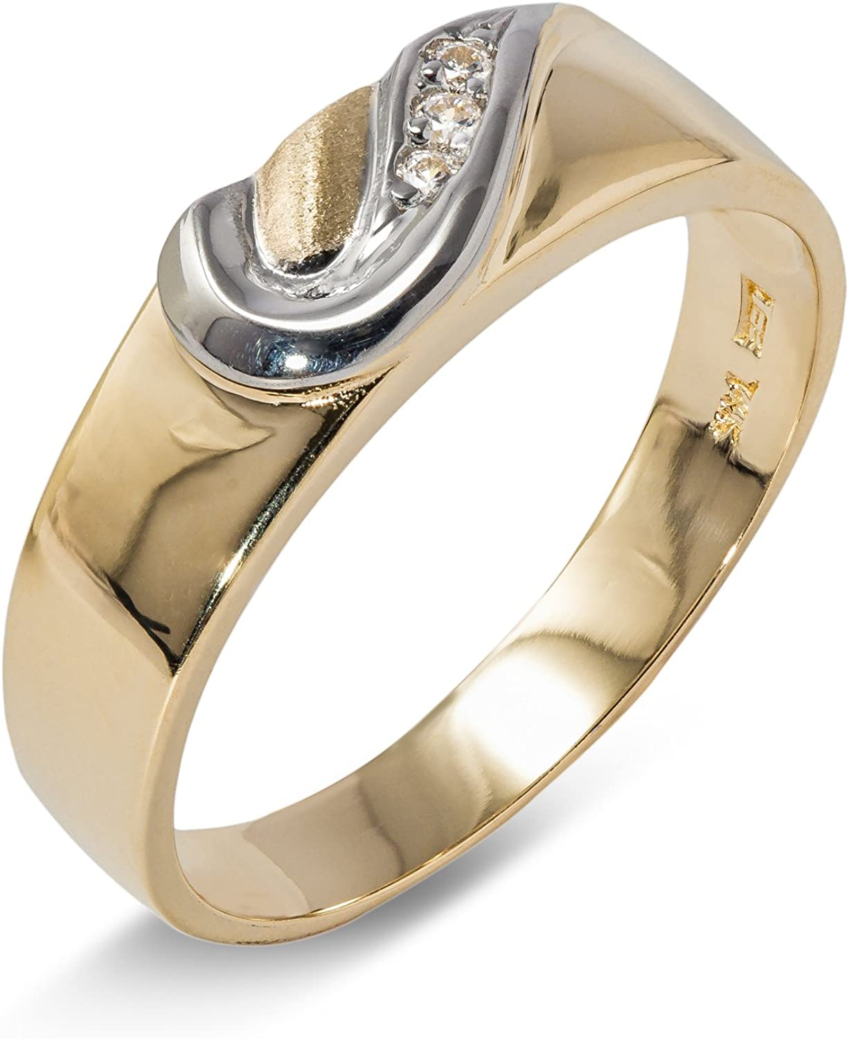 14K Solid Gold 6MM Two Tone gold CZ Mens Wedding Band Ioka