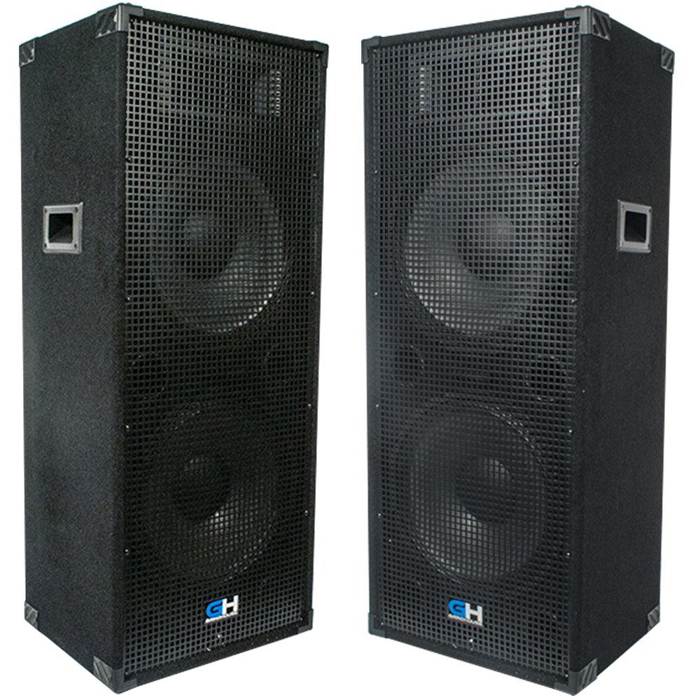 2400w Pair of Dual 15 Inch Passive Full Range PA Speakers Portable Indoor Outdoor