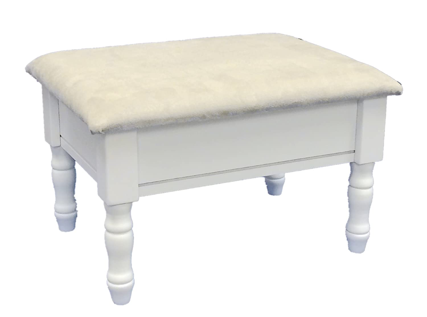 Frenchi Home Furnishing Footstool with Storage, White Finish with Dark Beige Cover H-51-WH
